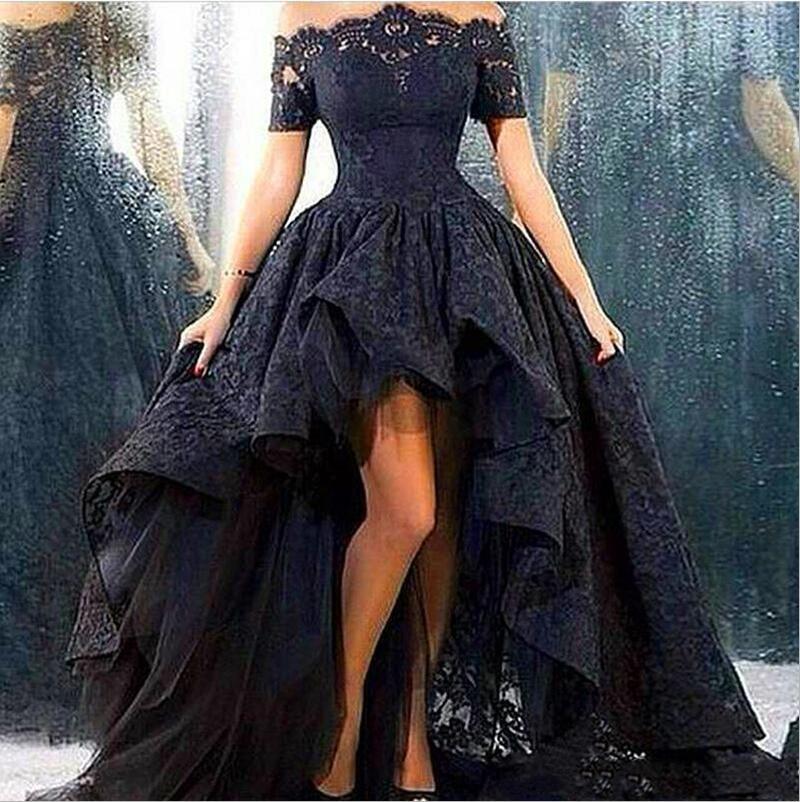 Black Lace Gothic Prom Dresses Sheer Off Shoulder Short Sleeves High Low Evening Gowns Arabic Saudi Dubai Robe De Soiree Cheap
