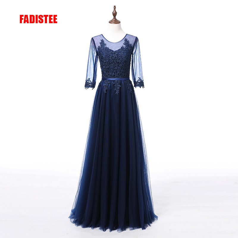 FADISTEE Elegant Long   Bridesmaid     Dresses   Appliques Lace half sleeves plus size see through style Wedding Party   Dress   Under 50$