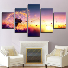 Canvas Pictures Framework Modern Home Decor HD Prints Posters 5 Pieces Flower Dandelion In Sunset Paintings Living Room Wall Art