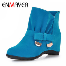 ENMAYER Free Shipping Women Shoes Spring/ Autumn Boots Fashion Winter Ankle Boots With Fur Inside 4 Classic Colors Size 34-43