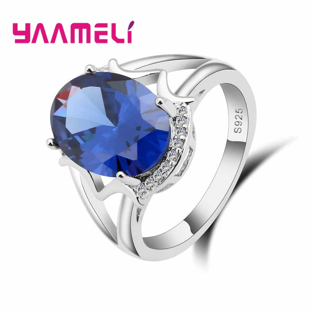 YAAMELI New Fashion Hollow Cross Brand 925 Sterling Silver Finger Ring Oval Bule Cubic Zirconia Women Female Party Jewelry