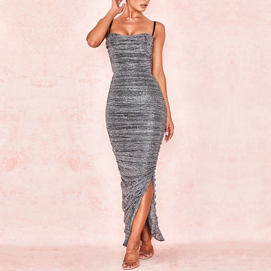 Adyce 2019 New Arrivals Summer Women Celebrity Party Dress Sexy Sleeveless Spaghetti Strap Long Maxi Bodycon