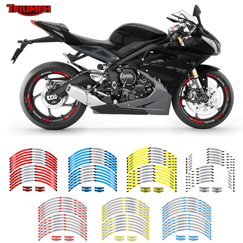 New  Motorcycle wheel sticker 12Pcs Thick Edge Outer Rim Sticker Stripe Wheel Decals For TRIUMPH