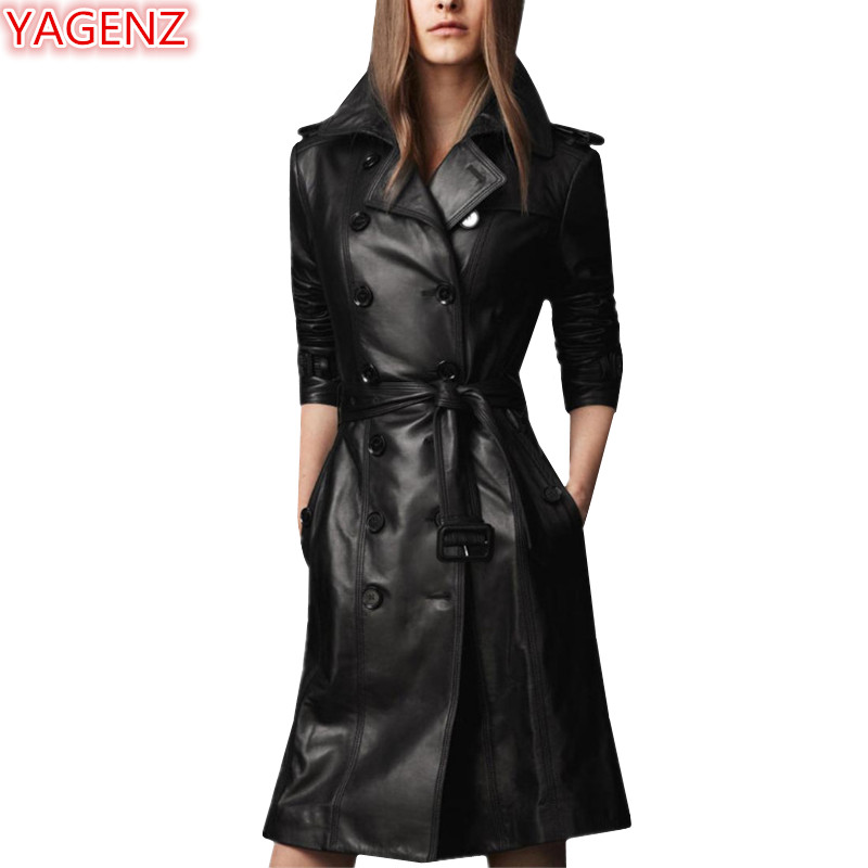 YAGENZ Fashion Women Windbreaker Leather Jacket Spring Autumn Large Size Womens Clothing Leisure Leather Tops Long Section 512