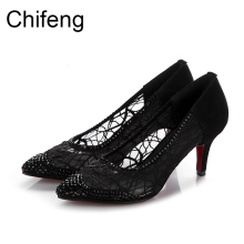 woman shoes casual fashion pointed toe women pumps thin heels red bottom black mesh sandals women's sexy Hollow out high heels