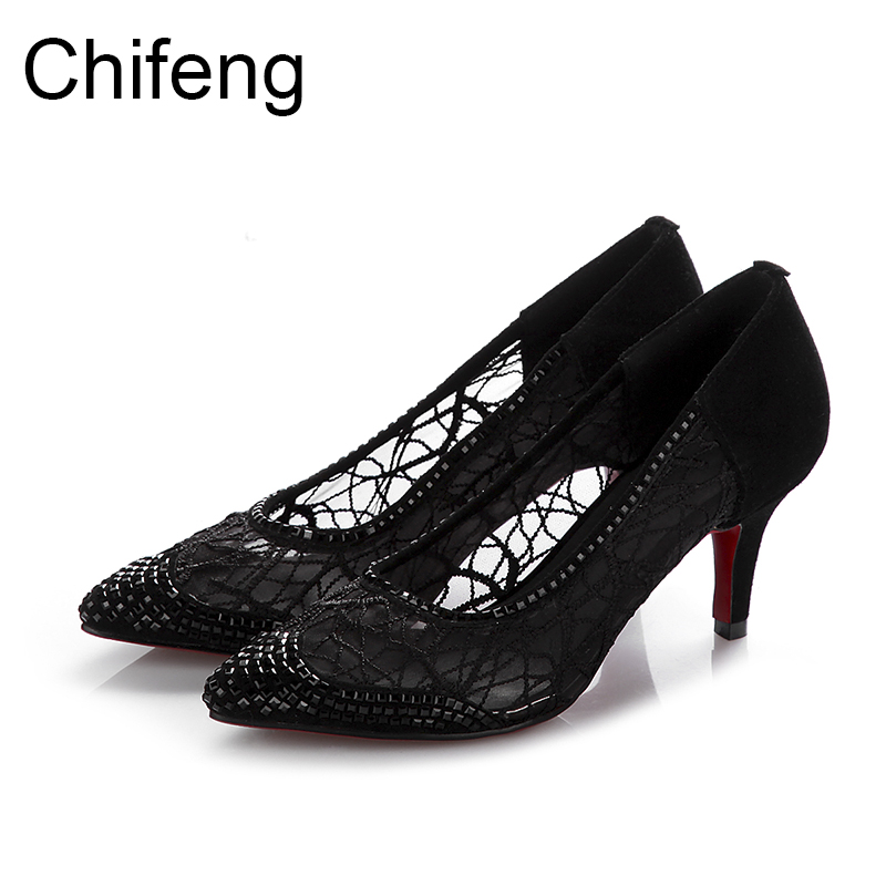 woman shoes casual fashion pointed toe women pumps thin heels red bottom black mesh sandals women's sexy Hollow out high heels sale promotion concise lady s pumps autumn pointed toe red bottom thin high heels female candy color black shoes 3709
