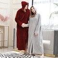 Осенне-зимний женский банный халат на молнии с капюшоном  большие размеры  ночная рубашка для пары  утепленная мужская пижама  фланелевая но...