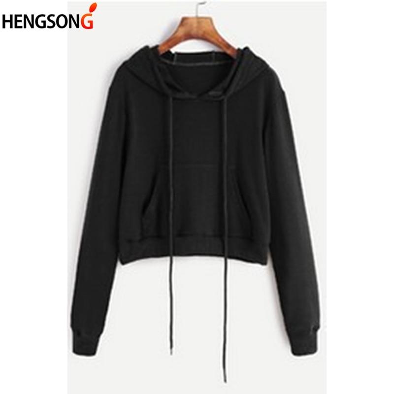 Short Sweatshirt Women Hoodies 2018 Fashion New Solid Crop Hoodie Long Sleeve Hooded Sweatshirt Pocket Casual PulloverTop