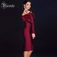 2018 New Free Shipping Chic Elegant Faux Fur Sexy Off The Shoulder Long Sleeves Midi Wholesale