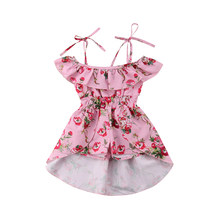 Summer Toddler Kids Baby Girls Clothing Off Shoulder Dresses Mini Floral Cute Jumpsuits Playsuit Clothes Girls 6M-5T(China)