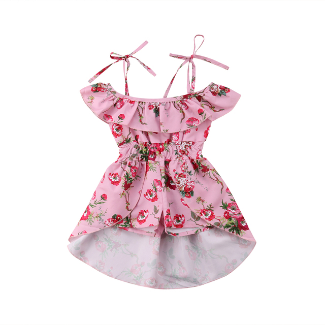 86712cf78d Summer Toddler Kids Baby Girls Clothing Off Shoulder Dresses Mini Floral  Cute Jumpsuits Playsuit Clothes Girls 6M-5T
