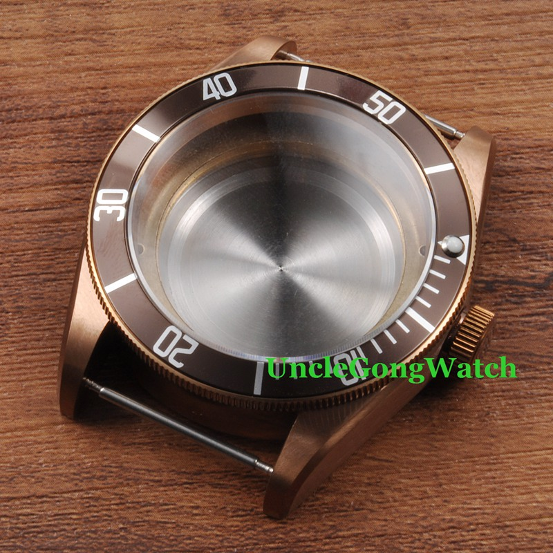 Watch Parts , 41mm Coffee Bezel Watches Case ,Brass PVD Coated Cases Fit for ETA 2836/2824 Automatic Movement CA2010CAZ watch parts 41mm watches case for wristwatch black pvd coated cases fit for eta 2836 2824 automatic movement ca2010cap