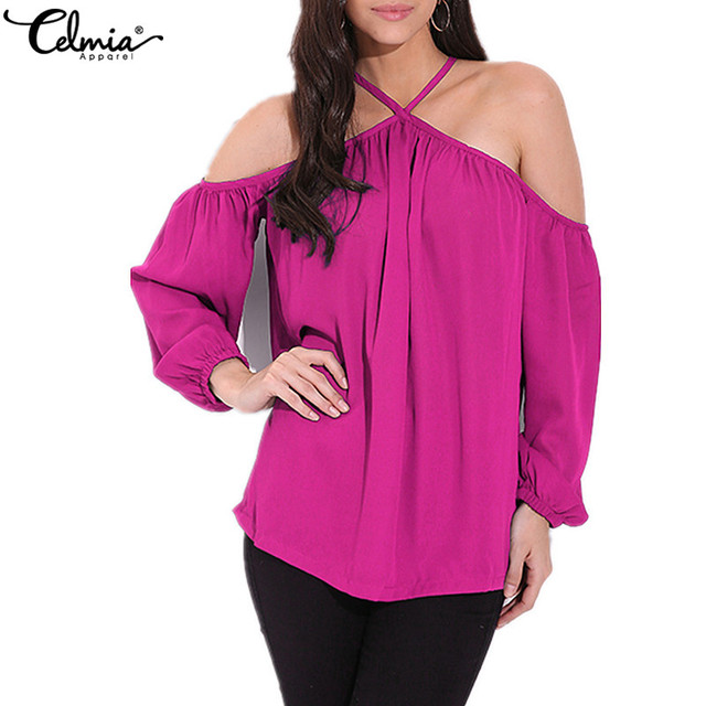 0d942457a622 Celmia Women Sexy Off Shoulder Tops Blouse 2018 Summer Halter Female Casual Long  Sleeve Loose Chiffon Shirts Blusas Plus Size
