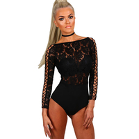 Hot Sale Black Sexy Lace Bodysuit Women Fitness Bodycon Jumpsuit Catsuit 2017 Spring Hollow Out Sleepwear