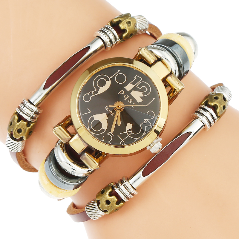 Gnova Platinum Top Genuine Leather Watch Women Black NumbersTriple Bracelet Wristwatch Quartz Fashion Reloj Para Dama B031 new retro silicone watch women silicone golden owl fashion wristwatch reloj para dama woman