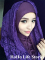 TJ8J1 easy wear  Lace muslim hijab fashion patchwork muslim pashmina  showl scarves