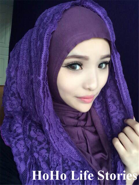 Tj8j1 fácil desgaste rendas muçulmano hijab moda patchwork pashmina muçulmano lenços showl