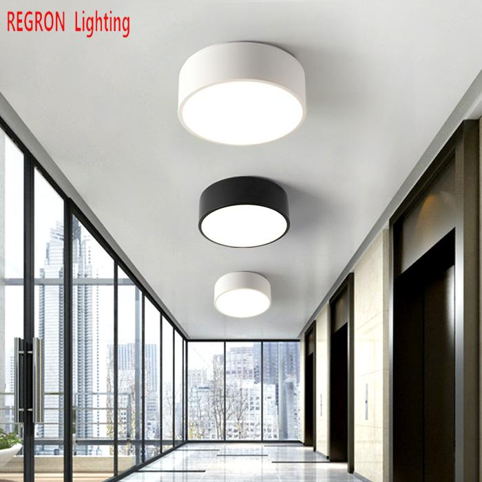 28/38cm Pathway Led Ceiling Lights for Balcony Nordic Round mini Ceiling Lamp Modern Black/white Luminaire Bedroom Corridor lamp|Ceiling Lights| |  - title=
