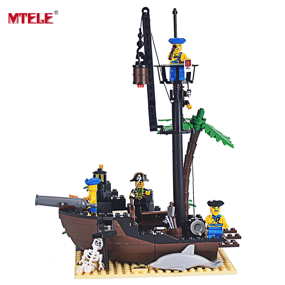 MTELE Brand 178 Pieces Pirate Ship Scrap Dock Building Blocks Model Toys For Kids Compatible With Lego High Quality lepin 22001 pirate ship imperial warships model building block briks toys gift 1717pcs compatible legoed 10210