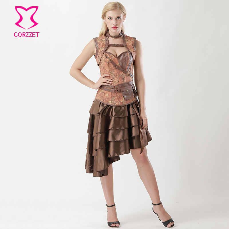 Винтажная коричневая джинсовая Корсетная юбка в стиле стимпанк, комплект с курткой, платье Бурлеск, корсетт для женщин, сексуальный корсет E Готический корсет, одежда