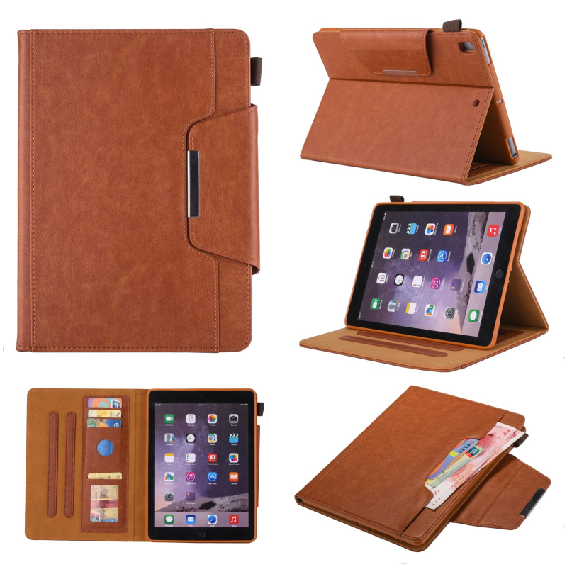"For New iPad 9.7"" 2018 2017 Luxury Leather Smart Case for iPad Air iPad Air 2 Flip Magnetic Stand Wallet Cover with Card Slots"