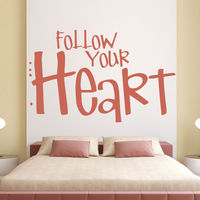 Follow Your Heart Wall Sticker Love Quote Wall Decal Bedroom Wedding Home Decor