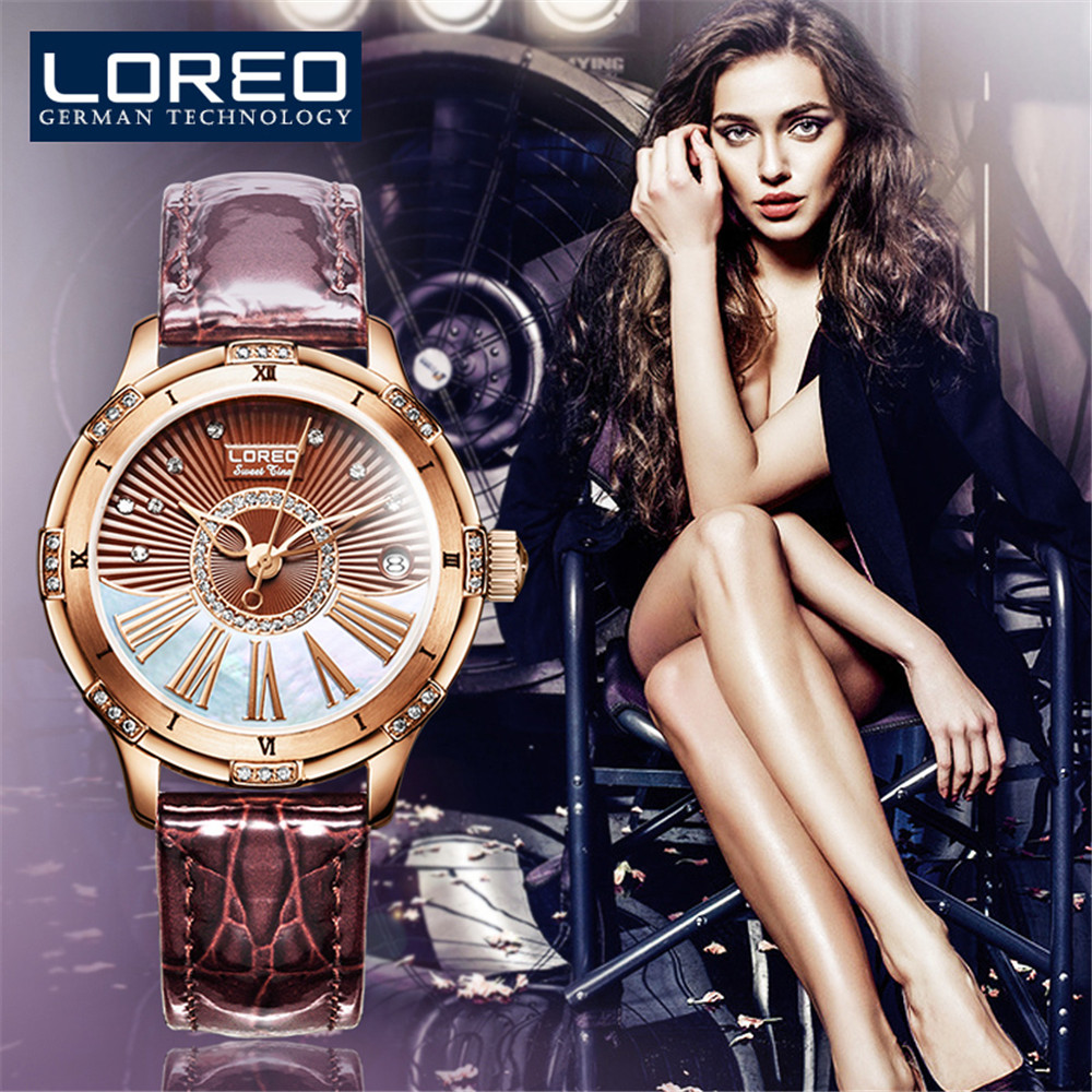LOREO Fashion Elegant Women Automatic Mechanical Watches Genuine Leather band Female Watch Sapphire Waterproof 50M Clock Diamond elegant m