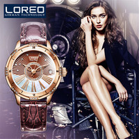 LOREO Fashion Elegant Women Automatic Mechanical Watches Genuine Leather band Female Watch Sapphire Waterproof 50M Clock Diamond