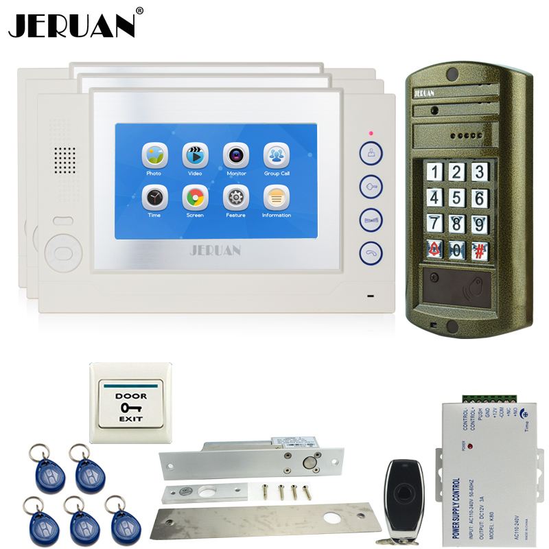 JERUAN Home 7`` Video Door Phone Intercom System kit 3 TOUCH SCREEN Monitor +Metal waterproof password HD Mini Camera 8GB Card jeruan home 7 video door phone intercom system kit rfid waterproof touch key password keypad camera remote control in stock