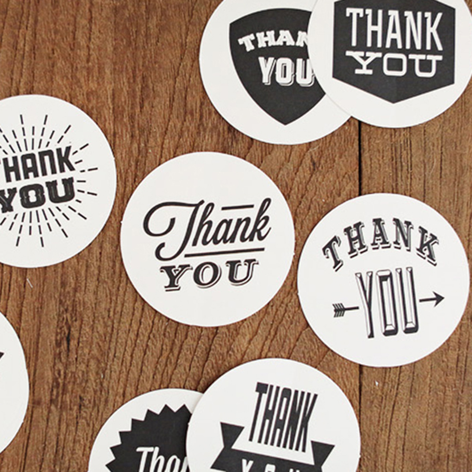 90PCS/lot white/black THANK YOU Design Sticker Labels food Seals, Gift stickers for Wedding seals free shipping