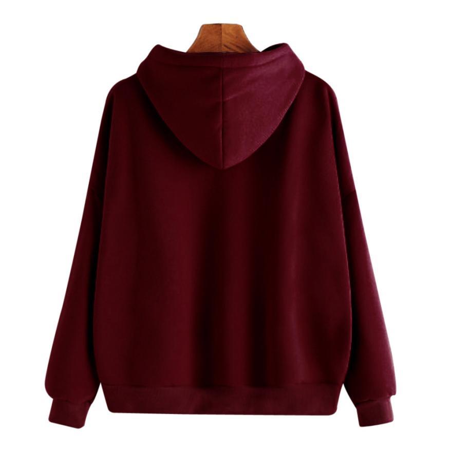 DOUDOULU Female sweatshirt Women Ladies Solid Long Sleeve Casual Hooded Sweatshirt Pullover Top Blouse Moletom Feminino#ES 1