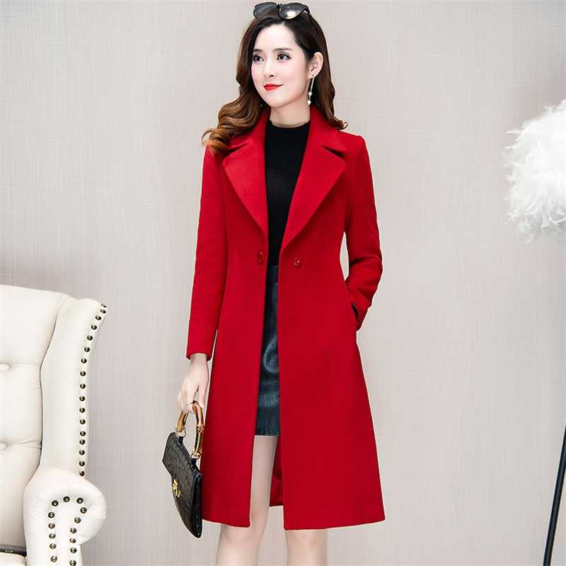 Spring Women Outerwear 2019 New Medium Long One Button Female Woolen Coat High-Grade Large Size Ladies Woolen Jacket Qw036