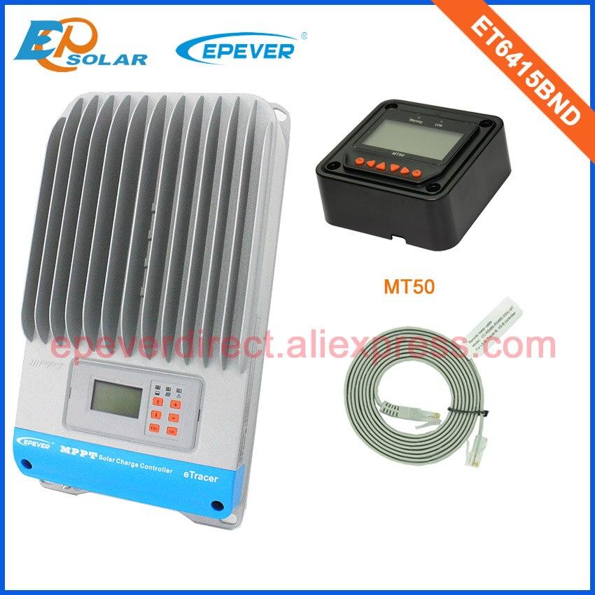 60amp panneau solaire eTracer contrôleur ET6415BND 12 v/24 v/36 v/48 v travail automatique avec MT50 en noir 60A lcd affichage