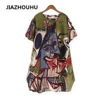 Plus Size 4XL Abstract Print Artistic Dress Female Retro Short Sleeve Loose Women S Dresses Casual