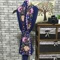 2016 100% Del bordado de Seda Larga Bufanda Mujeres Chal Bufanda de Seda Bufanda de Marca de Lujo Bufandas Larga Impresa Chales de Playa Cubierta-ups