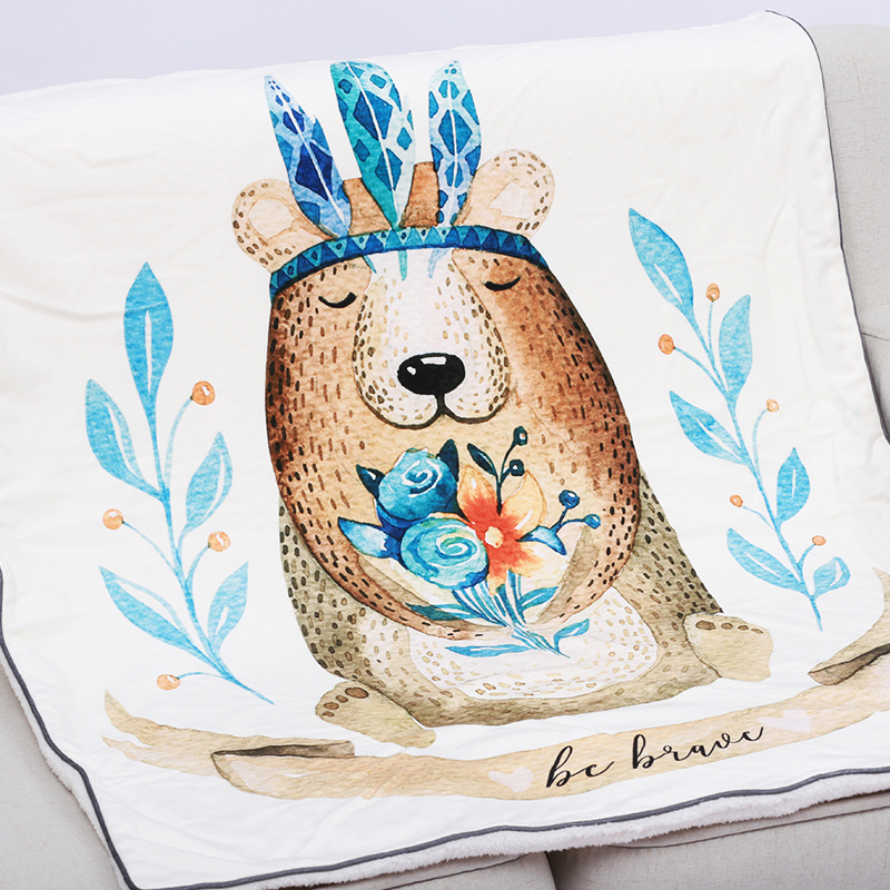 115X155cm Thick Hand Painted Cartoon Animal Soft Minky Fleece Weighted Baby Blanket Newborn Quilt Toddler Cover Kids Bedding