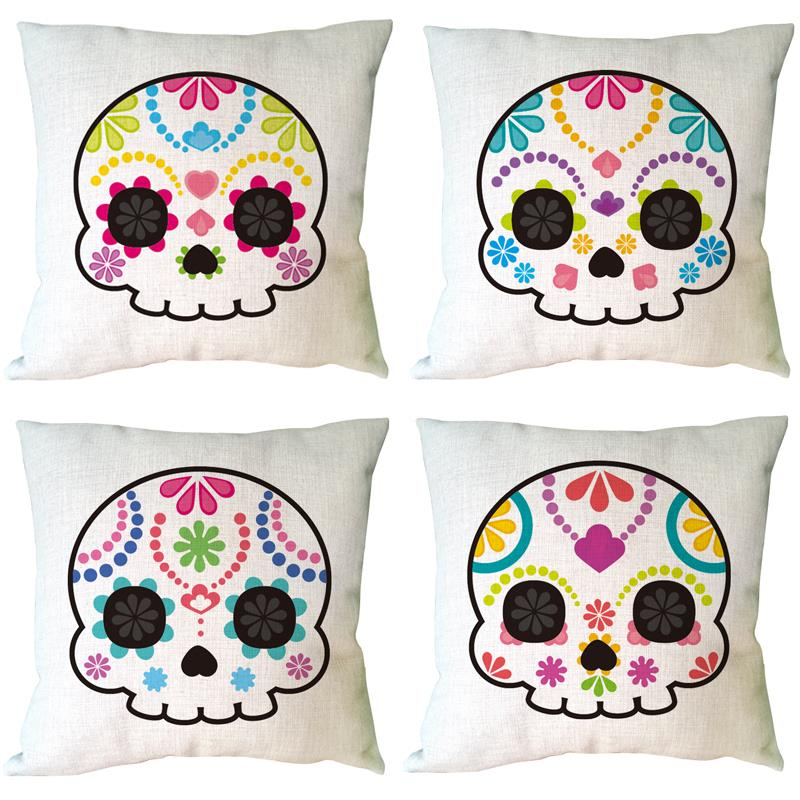 Ghost baby Skull printed Happy Halloween decorative cushion cover linen cotton throw pillow case for home and sofa bed