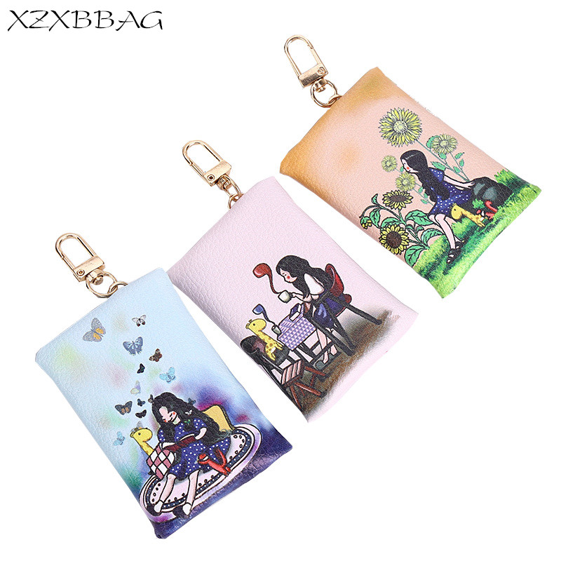 XZXBBAG Female Cartoon Mini Zipper Coin Purse Girls Small Wallet Students Change Purse Key Chain Money Bags Mini Zero Wallet