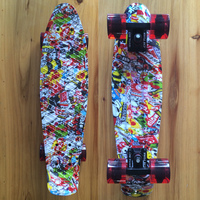 Kito Printed Mini Cruiser Plastic Skateboard 22 X 6 Retro Longboard Skate Long Board No Assembly