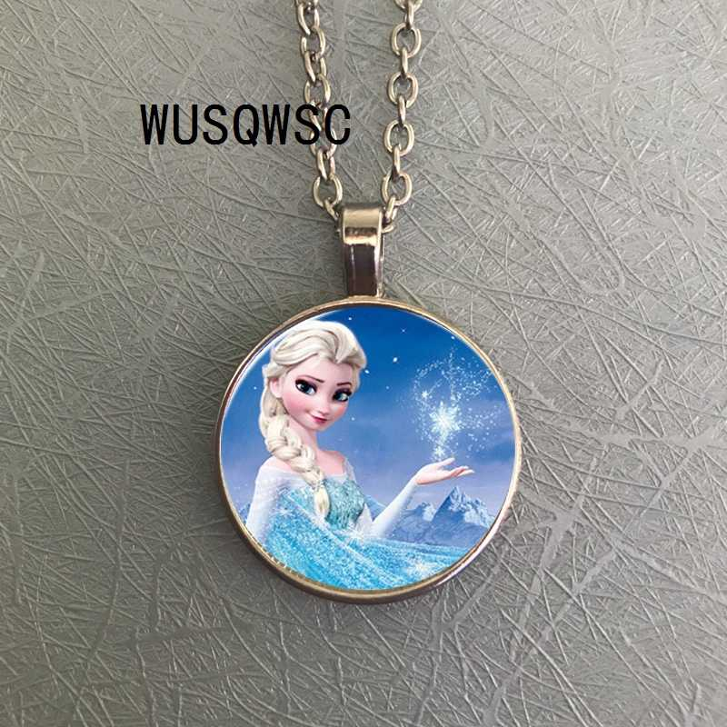 2018 / Big Sale Elsa Anna Pendant Necklace Cartoon Girl Necklace Round Glasses Necklace Woman Girl Gift Boy Necklace Silver