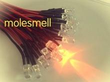 1000 pièces 5mm 12v Orange eau claire LED ronde lampe ensemble de lumière précâblé 5mm 12V DC précâblé