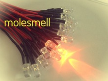 1000pcs 5mm 12v Orange Water clear round LED Lamp Light Set Pre Wired 5mm 12V DC PreWired