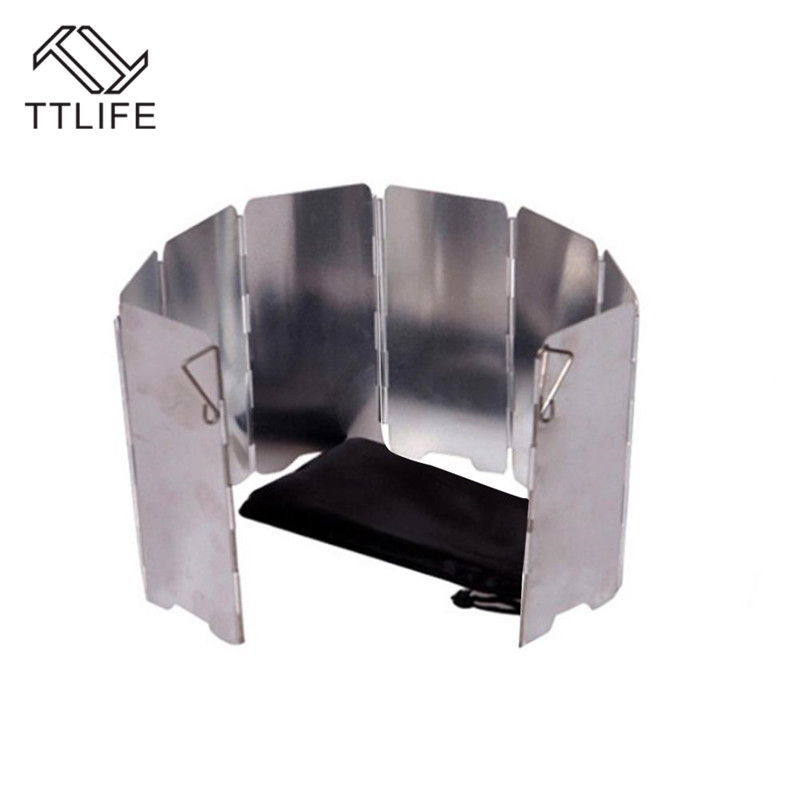 TTLIFE 8 Normal Plates Wind Shield Cover Foldable Outdoor Camping Cooking Screens Cooker Gas Stove Windshield Anti-Dust Screen