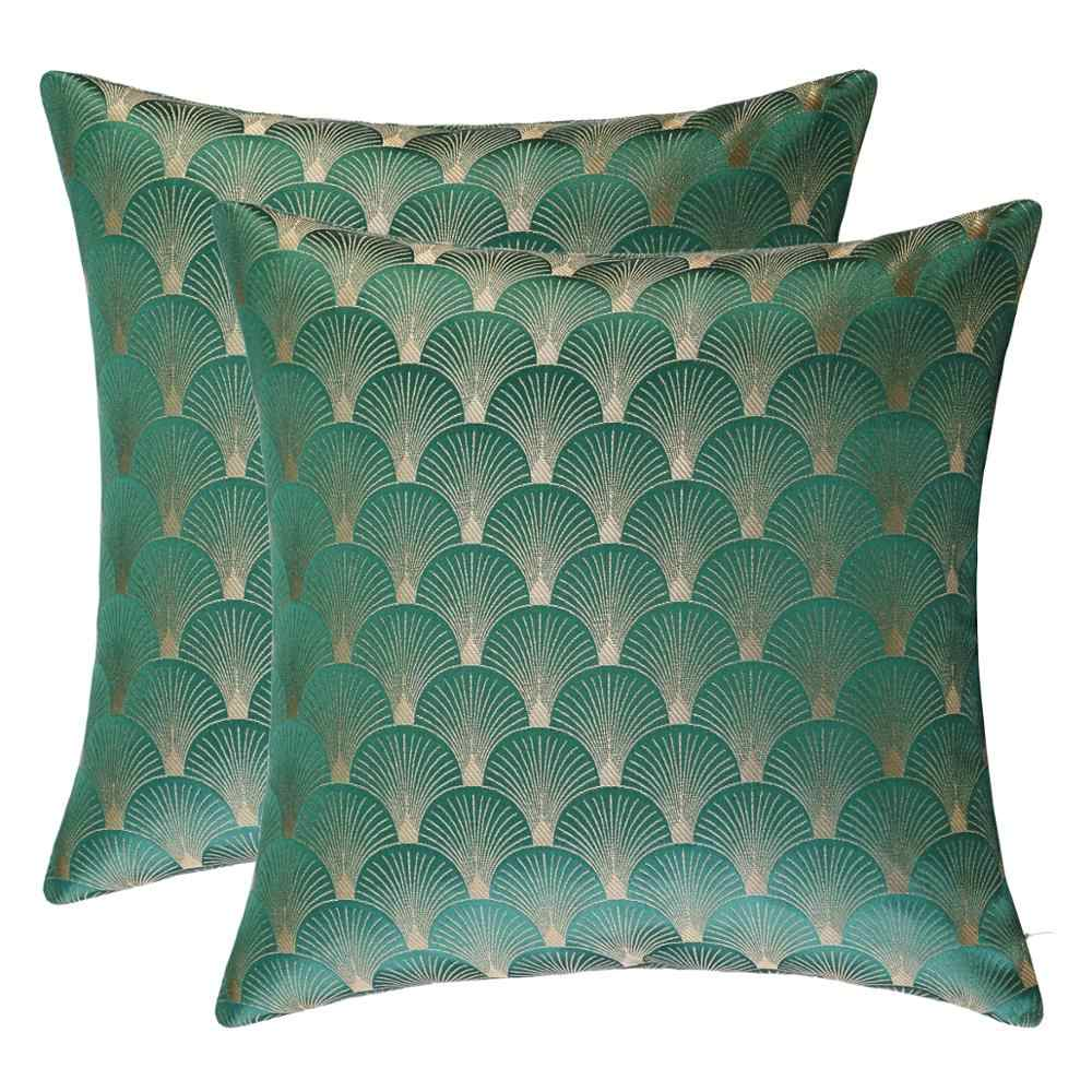 gigizaza decorative pillows cushion cover 45x45cm home decor for sofa green gold white throw pillows covers with shell pattern
