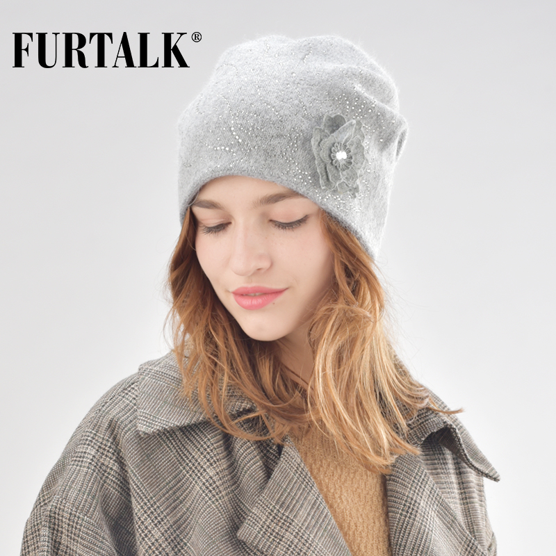 FURTALK wool cashmere winter hat for women double lining warm women knit   beanie   rabbit fur hats for girls with floral B009