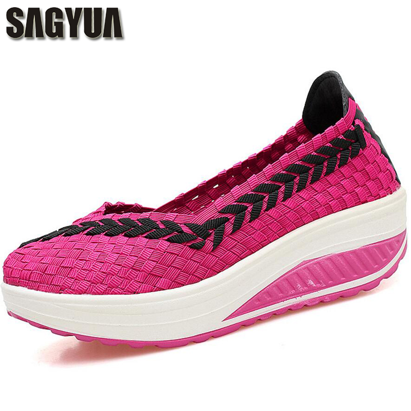 SAGYUA Women Young Girl Casual Spring Fashion Weave Knitting Color Block Thick Bottom Slip-On Zapatos Mujer Feminino Shoes T170