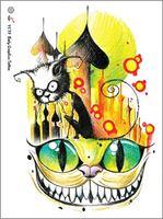 Ambientale Donne Degli Uomini Sexy Braccio Impermeabile Grande Tatuaggio Temporaneo Falso Cheshire Cat Disegni Colorati Autoadesivi Del Tatuaggio