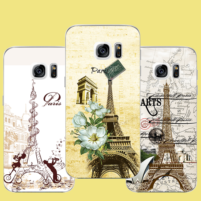 Paris Eiffel Tower Phone Case For Samsung Galaxy s7 s6 edge plus s5 s4 s3 Cover Case Transparent Soft TPU Silicone PC Hard Case