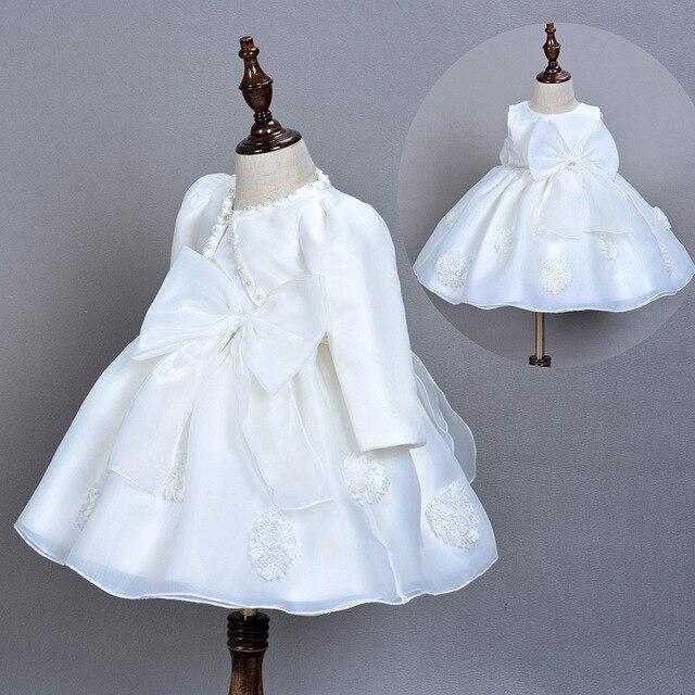 0b34db873 3pcs Set Baby Flower Big Bow Dress Toddler Princess Baptism Dresses For  Infant Christening Dresses Kids