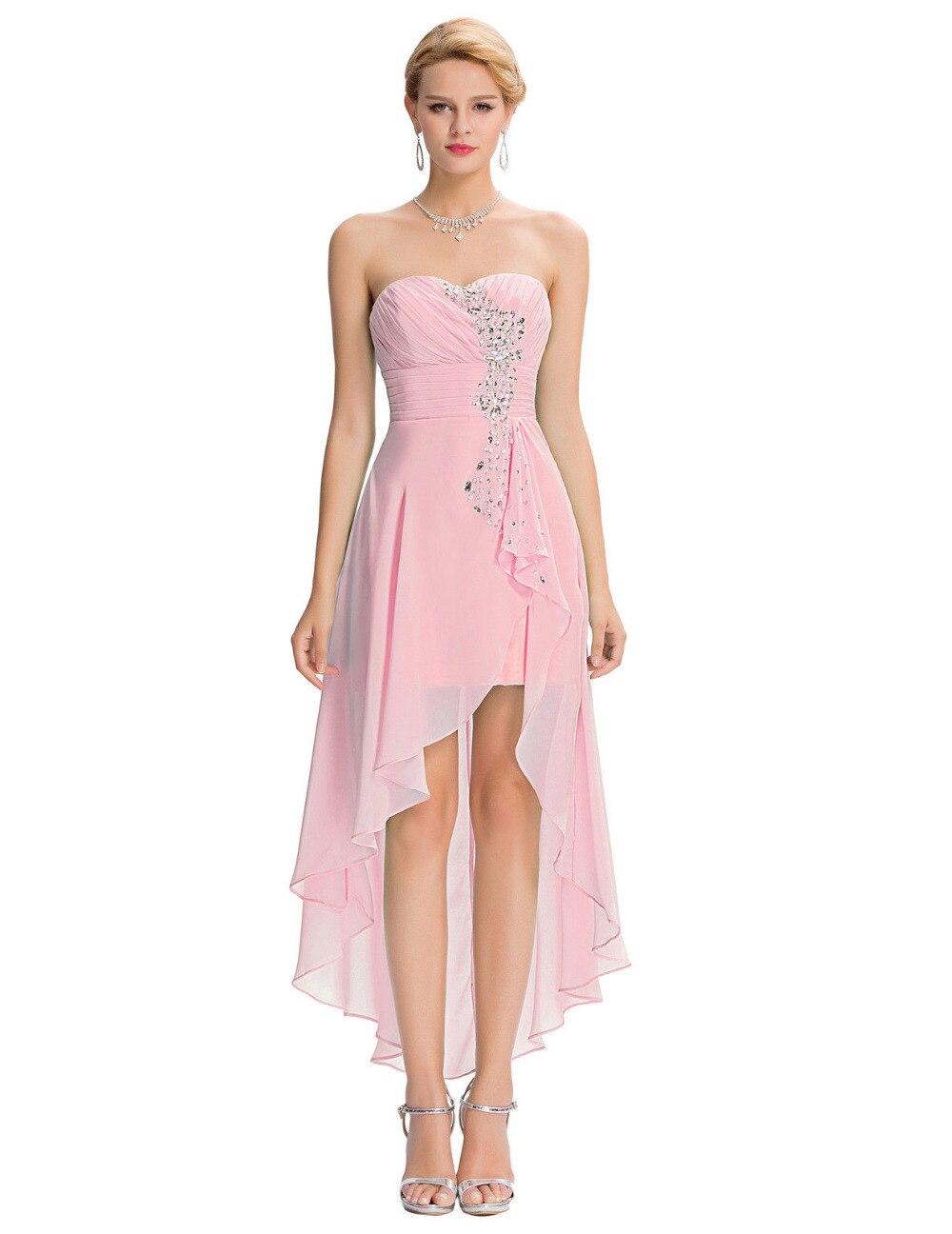 Princesa Bata Bal de Promo Alta Baja Vestido de Noche Frente Shont ...